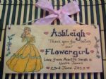 BELLE (BEAUTY & BEAST) BRIDESMAID FLOWERGIRL MAID OF HONOUR PRINCESS WEDDING FAVOUR  PERSONALISED Handmade WOODEN SIGN PLAQUE (2)